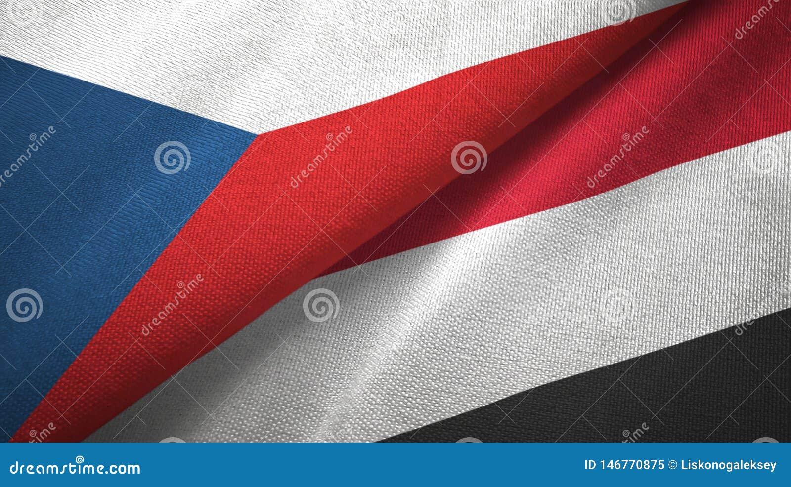 Tissu de textile de drapeaux de République Tchèque et du Yémen deux, texture de tissu
