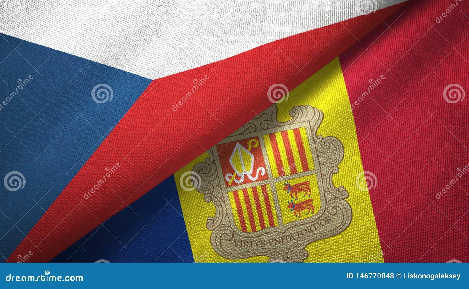 Tissu de textile de drapeaux de République Tchèque et de l Andorre deux, texture de tissu