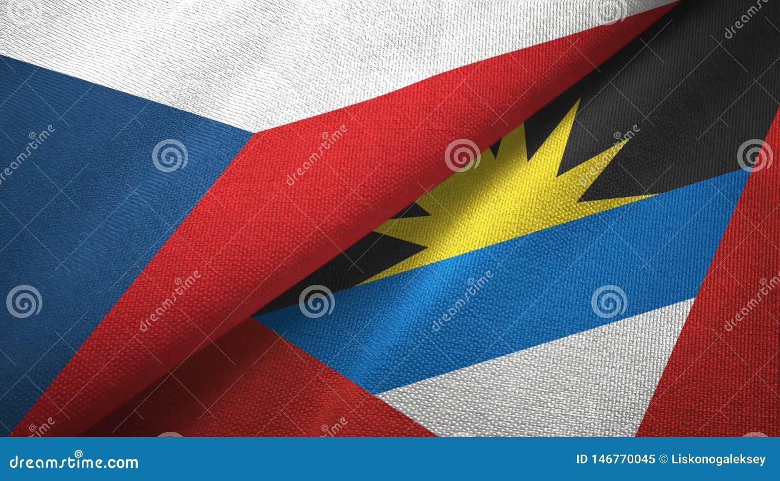 Tissu de textile de drapeaux de République Tchèque et de l Antigua-et-Barbuda deux, texture de tissu