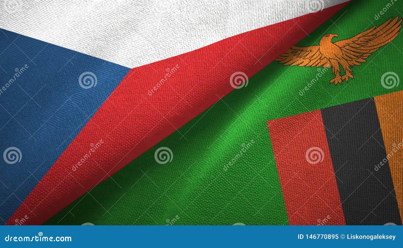 Tissu de textile de drapeaux de République Tchèque et de la Zambie deux, texture de tissu
