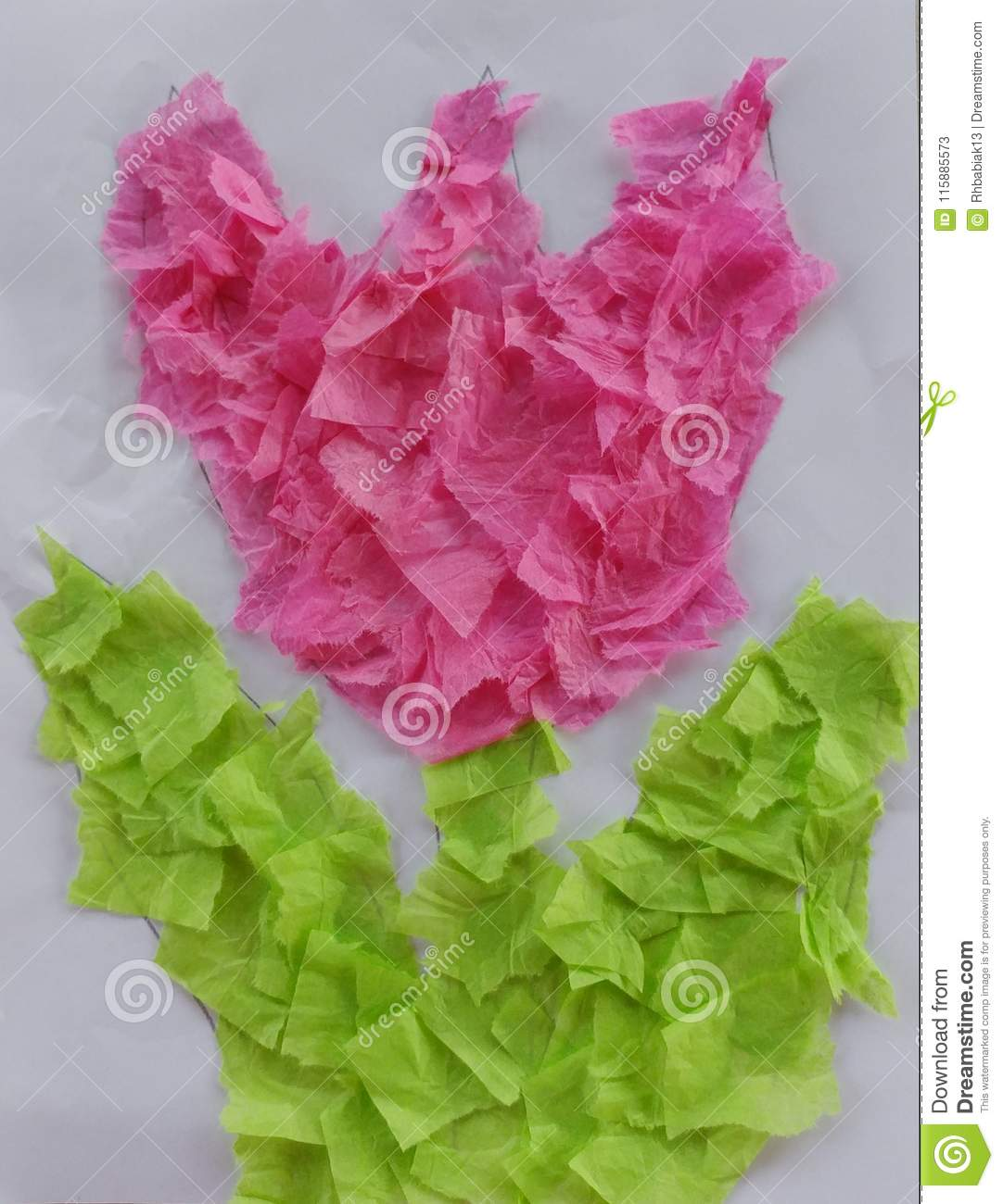 Tissue Paper Tulip Craft For Kids Stock Image Image Of Flowers