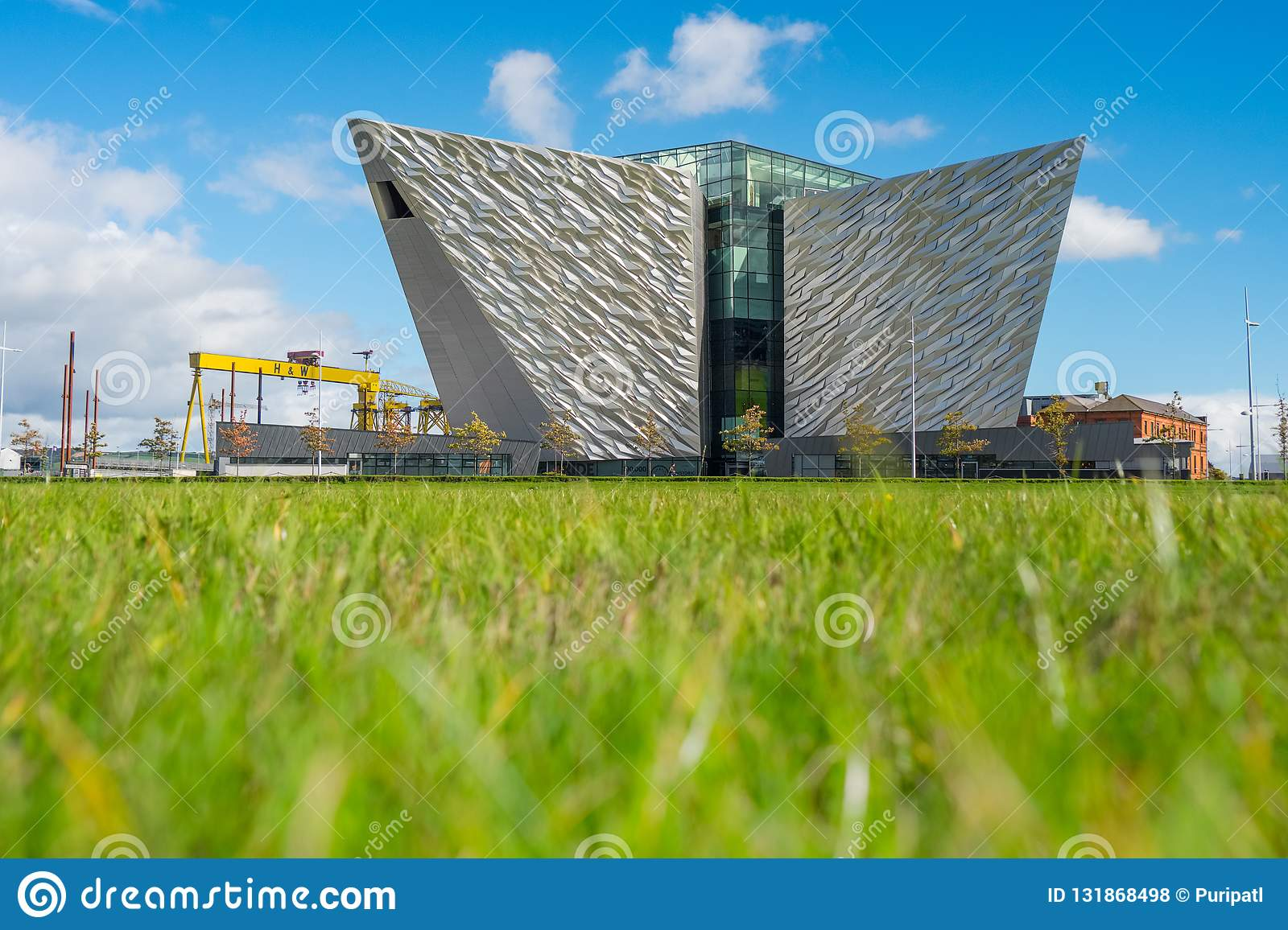 Titanic Belfast with Goliath and Samson Cranes on the background, Northern Ireland