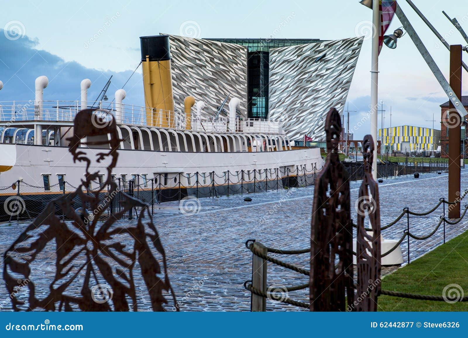 Titanic Museum, SS Nomadic, in Belfast at sunset