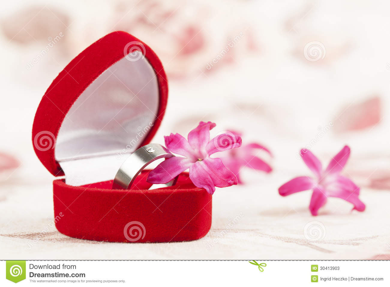 Titanium engagement ring stock photos image 30413903 for Heart shaped engagement ring box
