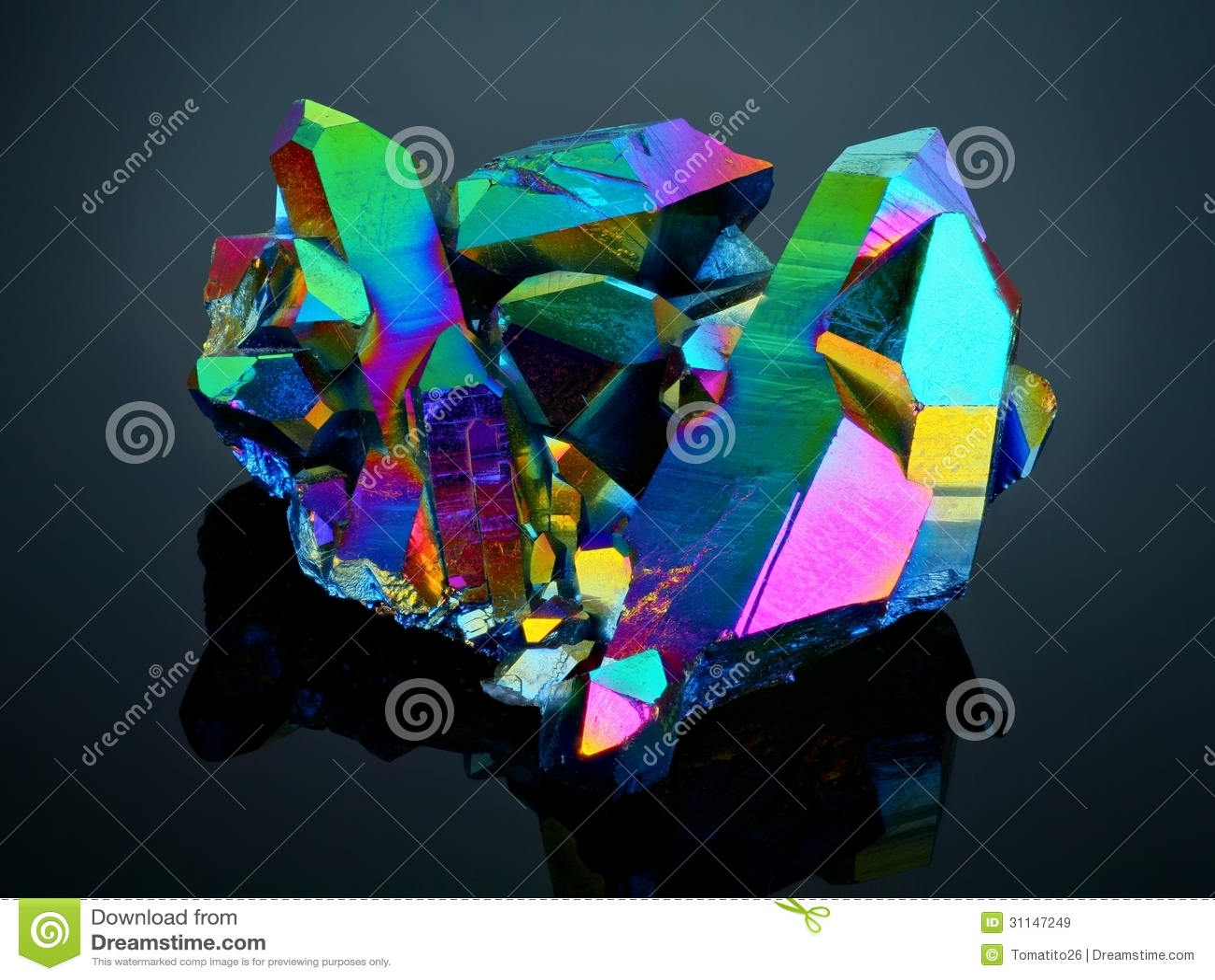 Titanium rainbow aura quartz crystal cluster