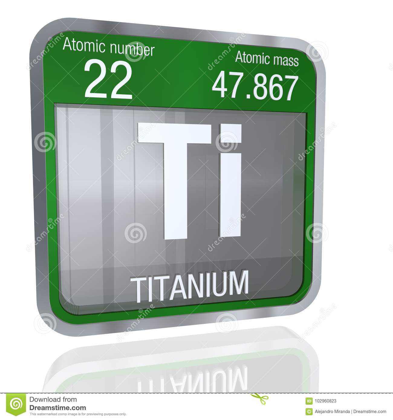 Titanium symbol in square shape with metallic border and transparent titanium symbol in square shape with metallic border and transparent background with reflection on the floor 3d render element number 22 of the periodic urtaz Choice Image