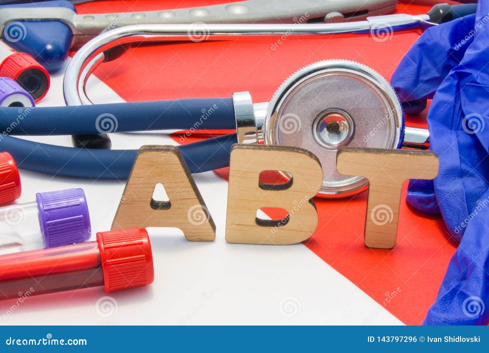 Titer médico do anticorpo do significado da abreviatura de ABT no sangue em diagnósticos do laboratório no fundo vermelho O nome