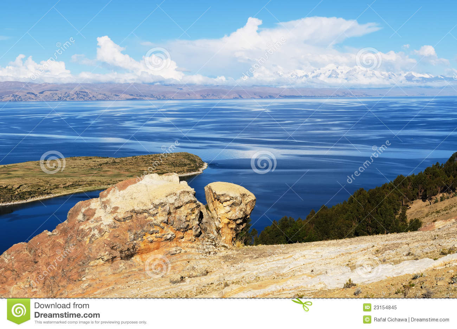 Titicaca jezioro, Boliwia, Isla krajobraz Del Zol