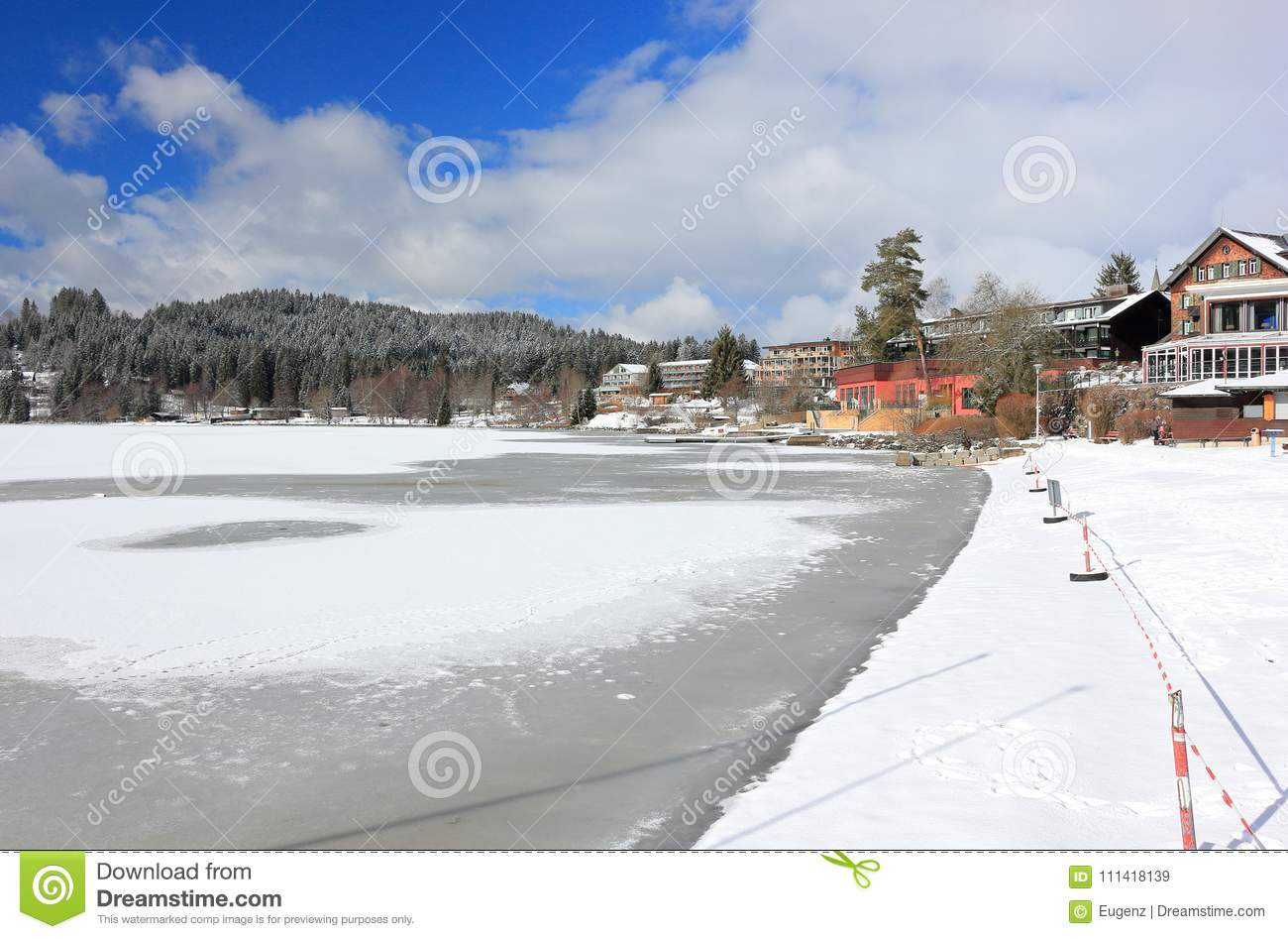 Lake Titisee In Winter Black Forest Germany Stock Image Image Of Relaxation Water 111418139