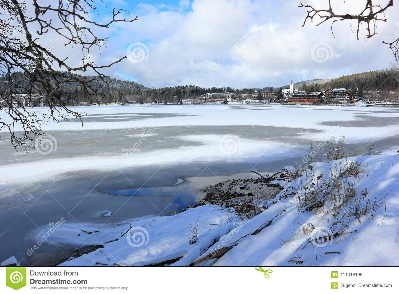 Lake Titisee In Winter Black Forest Germany Stock Image Image Of Travel Vacations 111418199