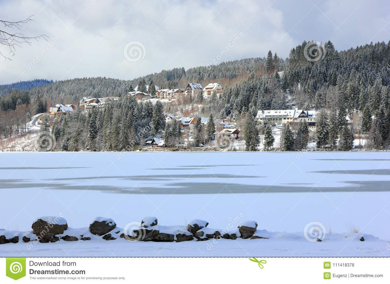 Lake Titisee In Winter Black Forest Germany Stock Photo Image Of Mountain Nature 111418378
