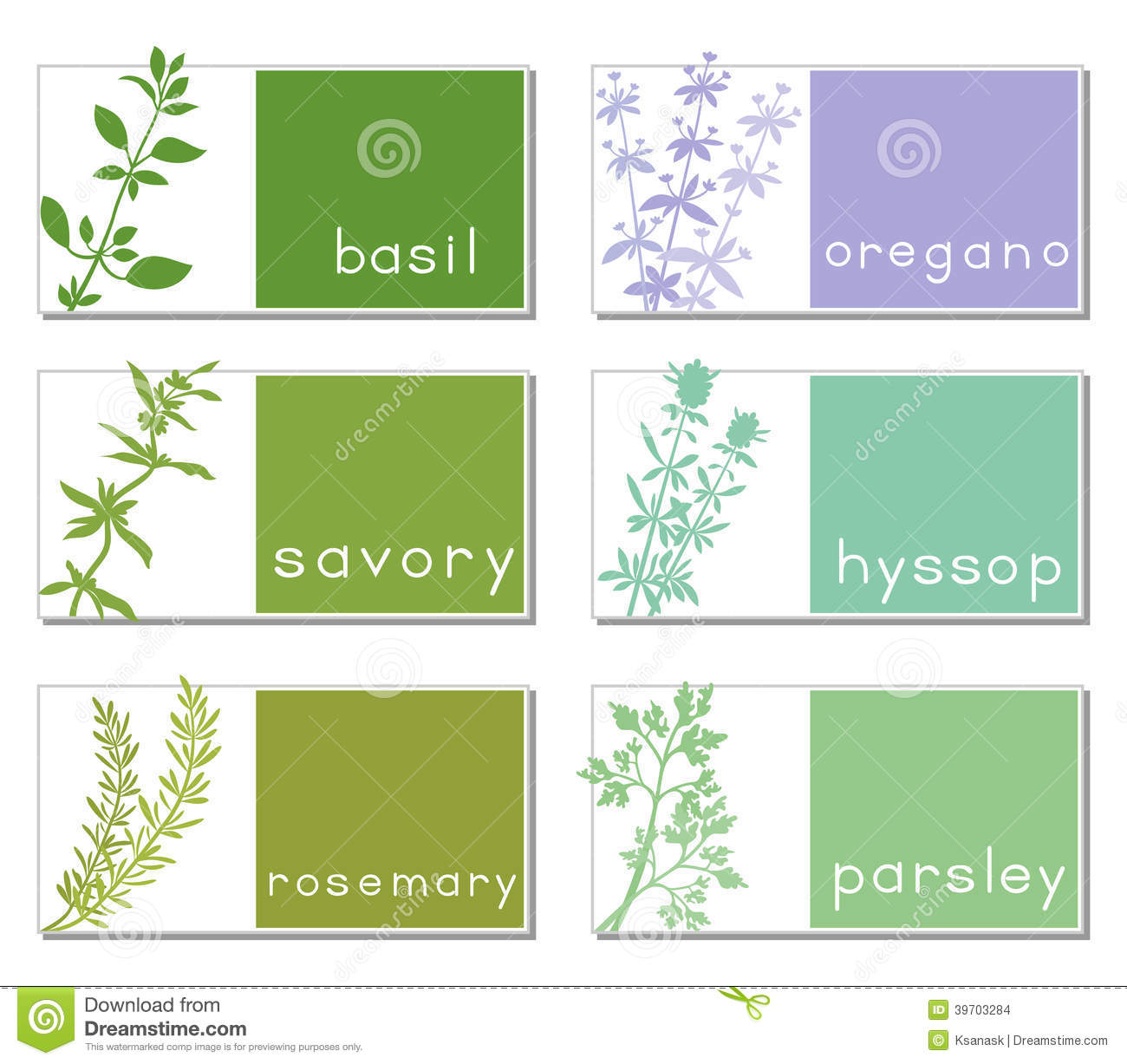 Titled Stickers With Herbs stock vector. Image of oregano ...