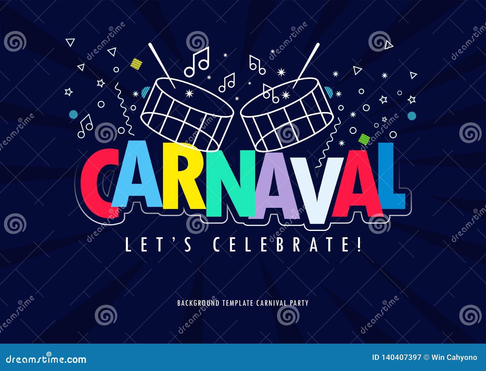 Titre de Carnaval avec dire coloré d éléments de partie venu au carnaval