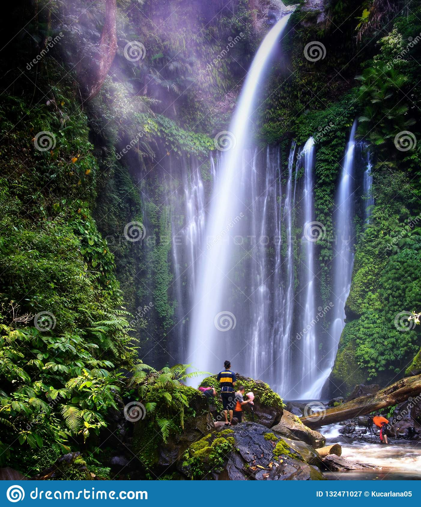 Tiu Kelep Waterfall Near Rinjani, Senaru Lombok Indonesia