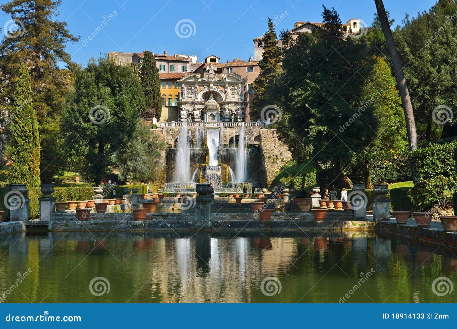 Tivoli Italien Garten Pool Und Brunnen Stockbild Bild Von Grun