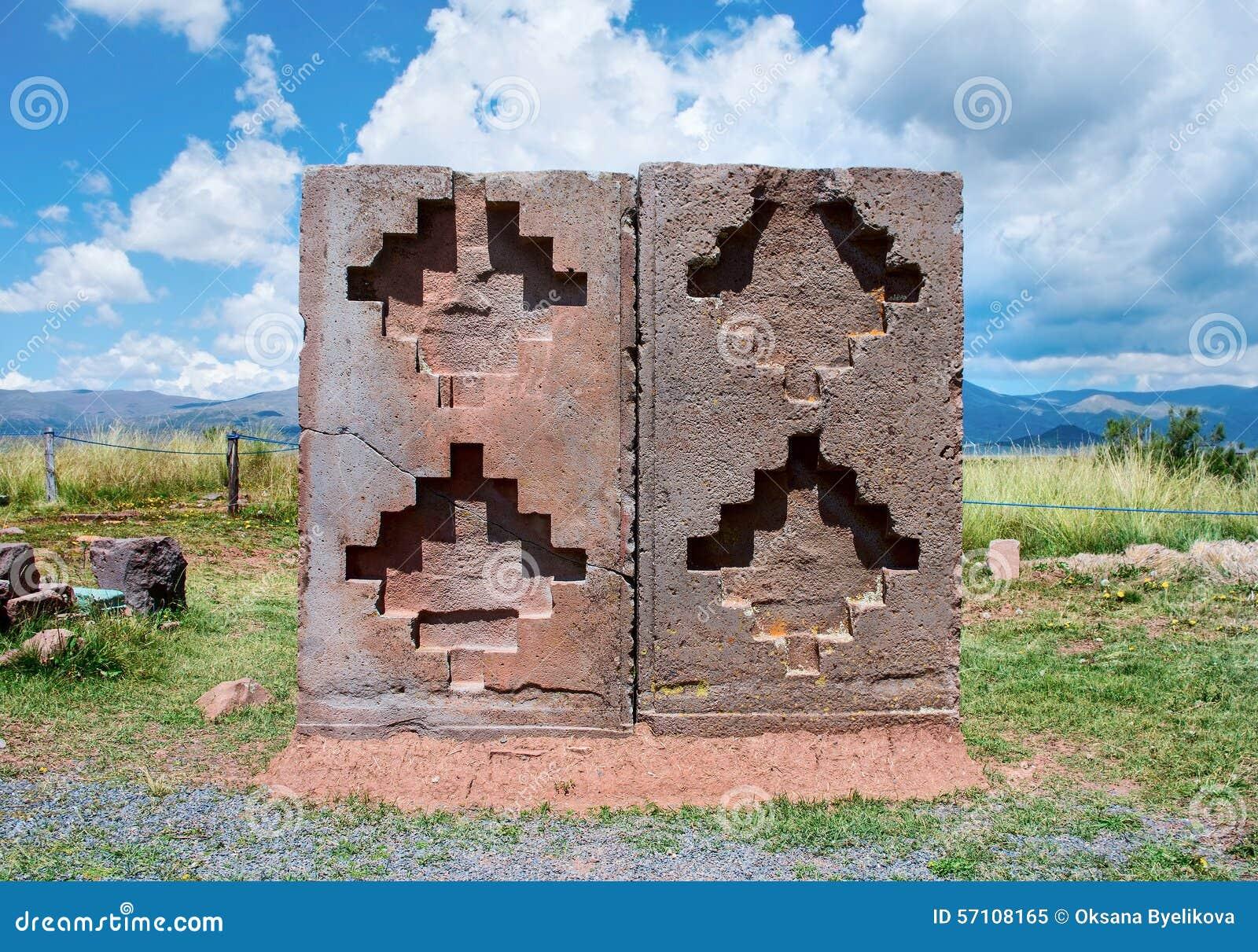 Tiwanaku Fördärvar i Bolivia,