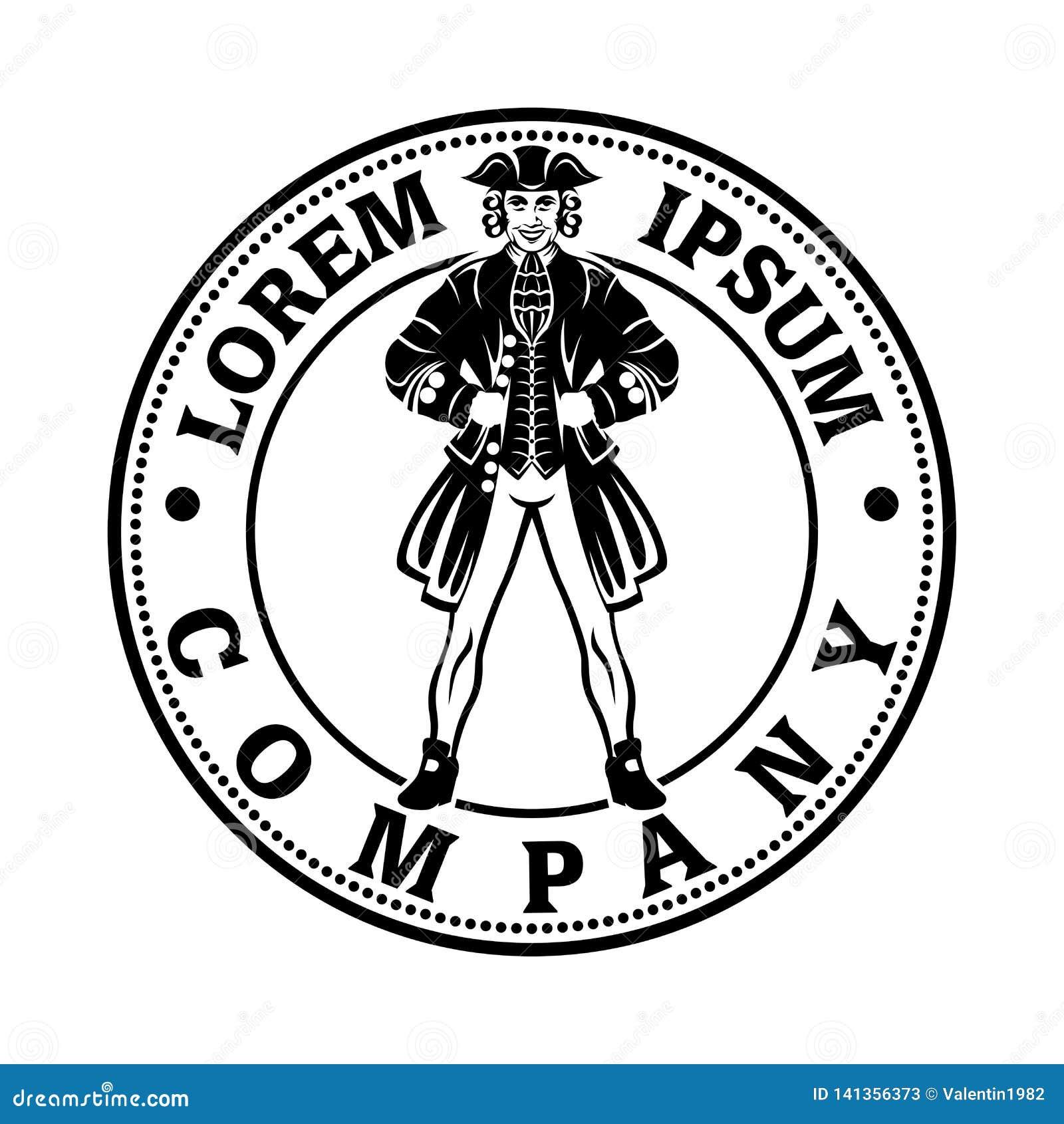 Tjäna som soldat en revolutionär logo också vektor för coreldrawillustration