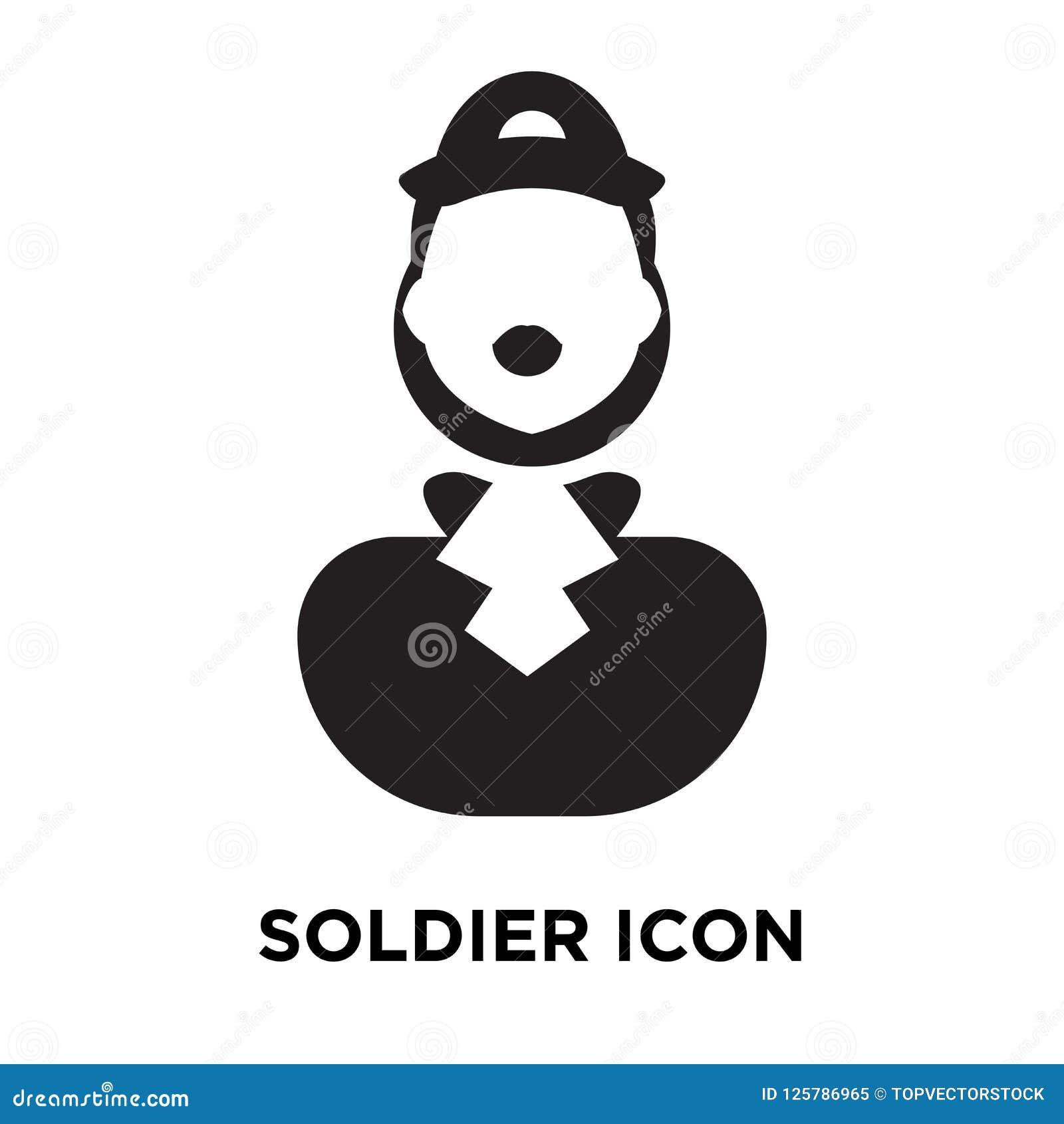 Tjäna som soldat symbolsvektorn som isoleras på vit bakgrund, logobegreppsnolla