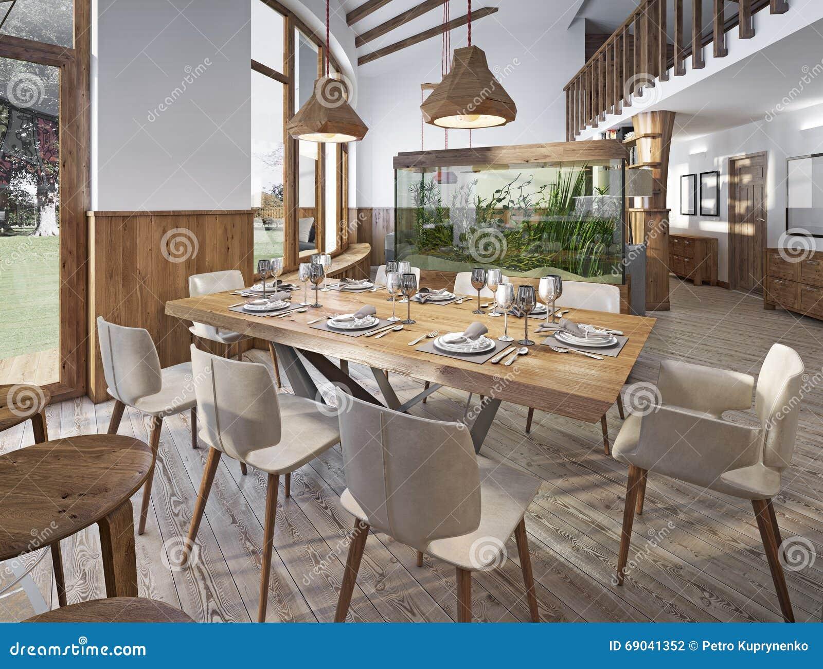 Tjänad som tabell för åtta i matsalen i vinden med höjdpunkt