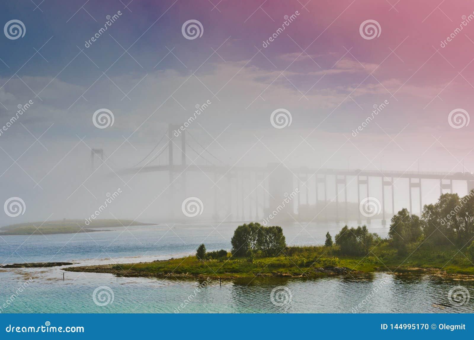 The Tjeldsund Bridge in a fog