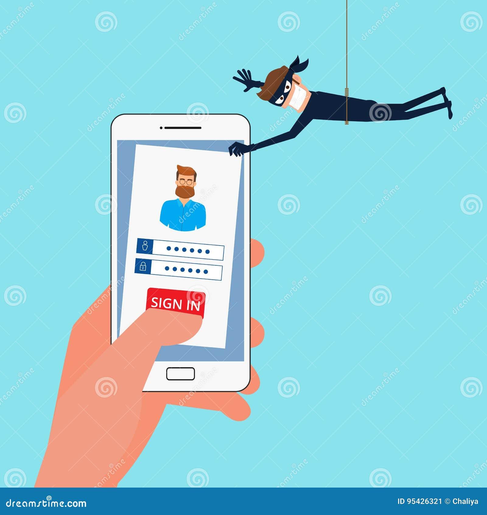 Tjuv Hacker som stjäler känsliga data, personlig information som lösenord från en smartphone som är användbar för anti-att phishi