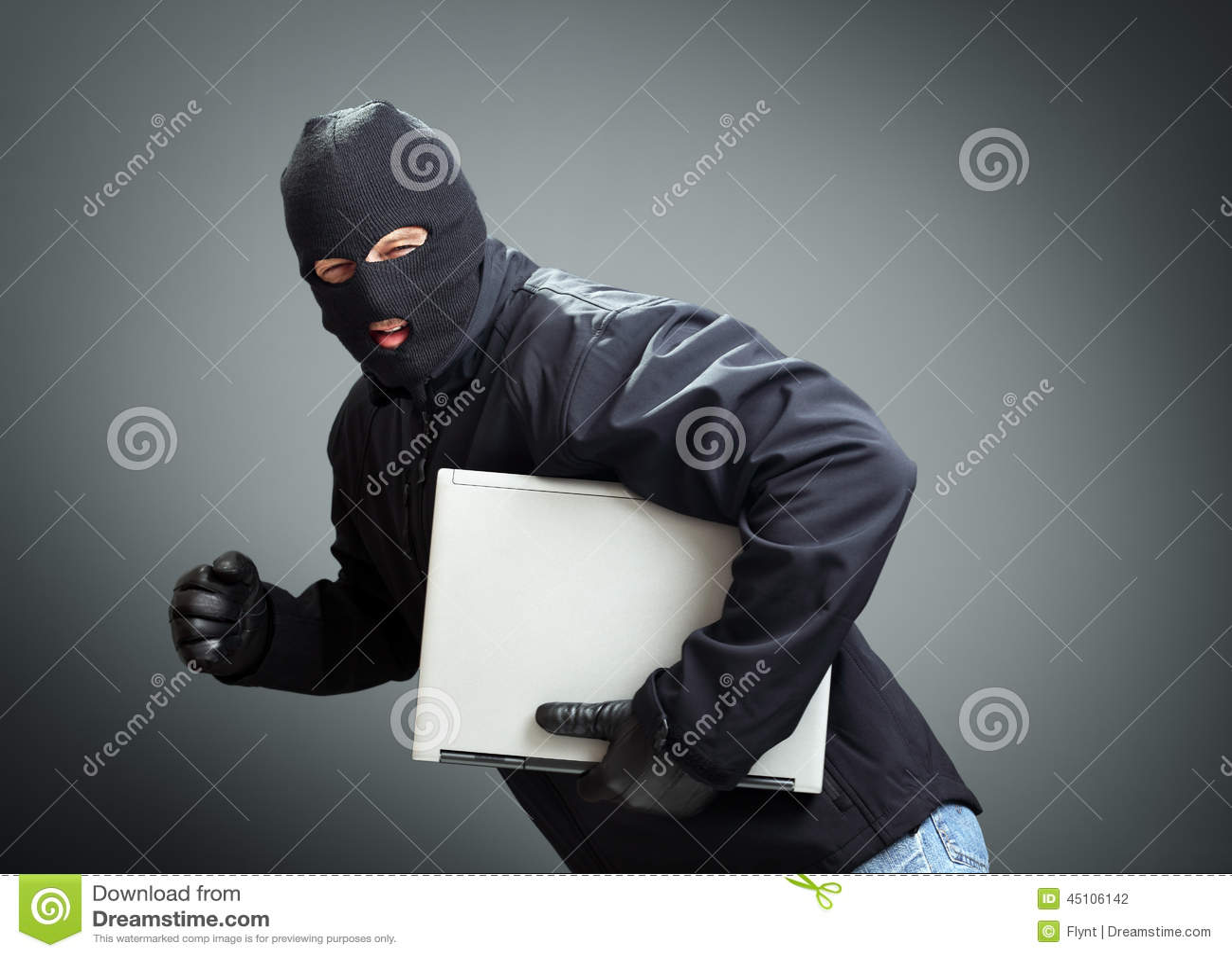 Tjuv som stjäler bärbar datordatoren