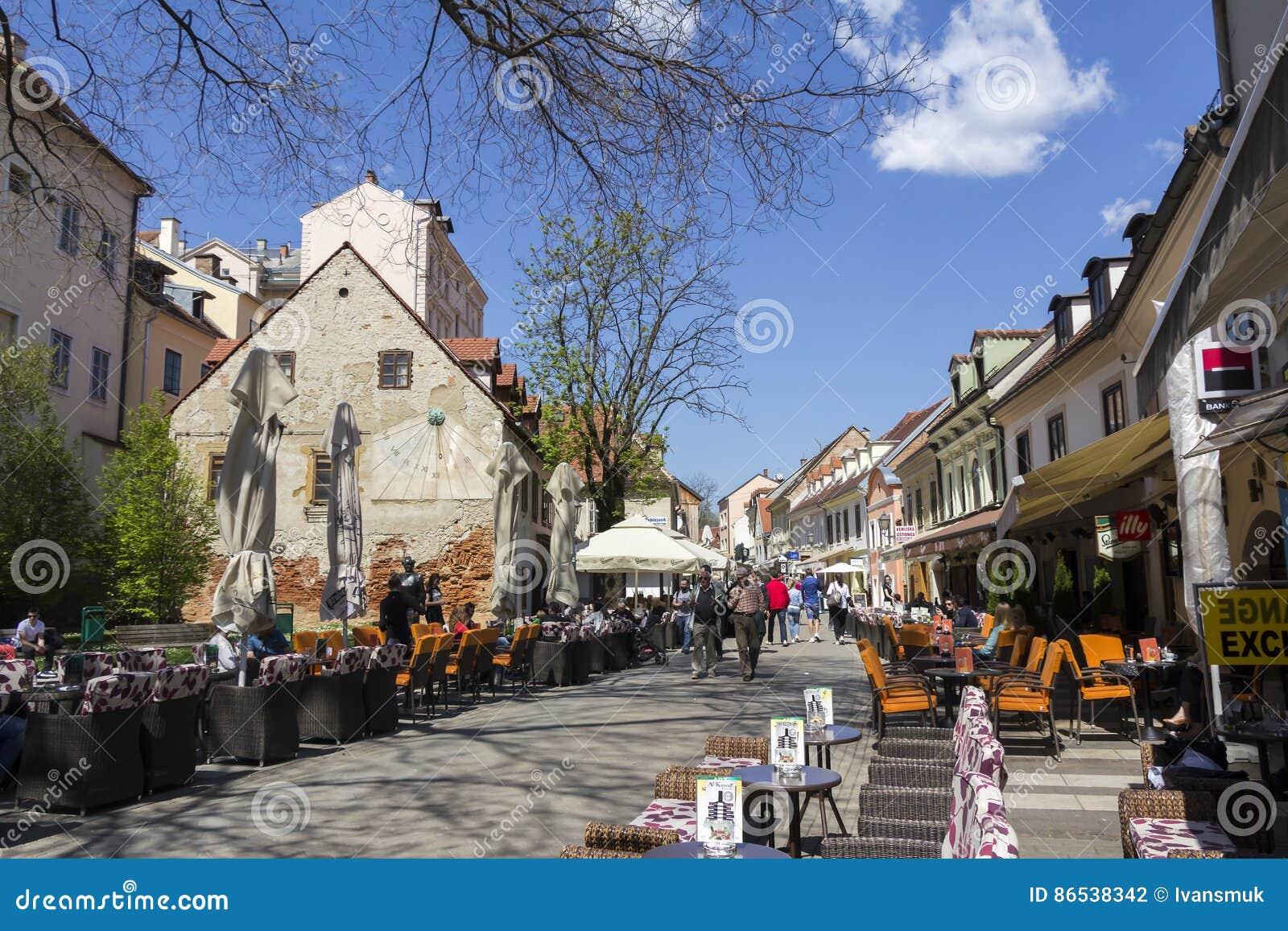 Tkalcicevastraat in de hoofdstad van Zagreb van Kroatië