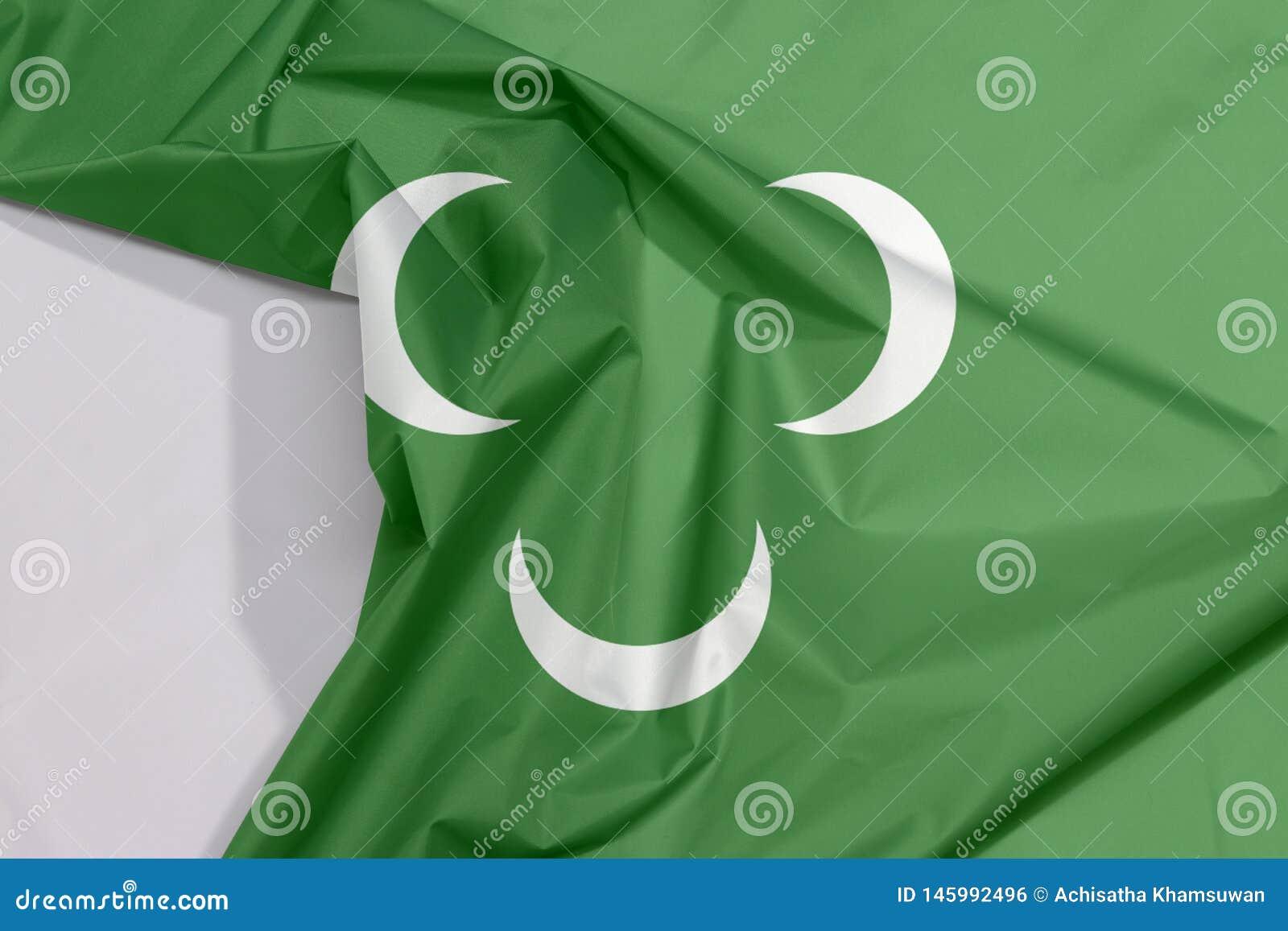 Tkanina otomanu Tripolitania xviii wiek flagi zagniecenie z biel przestrzenią i krepa