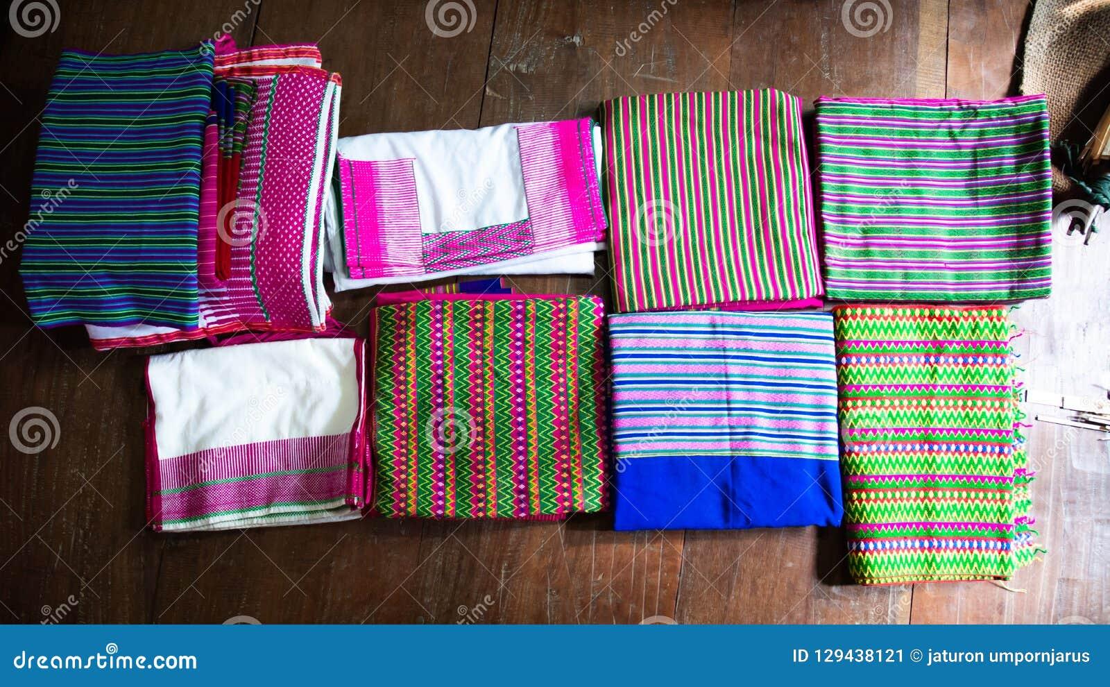 Tkanina, tekstura, tło, Tajlandzka handmade tkanina z pięknym