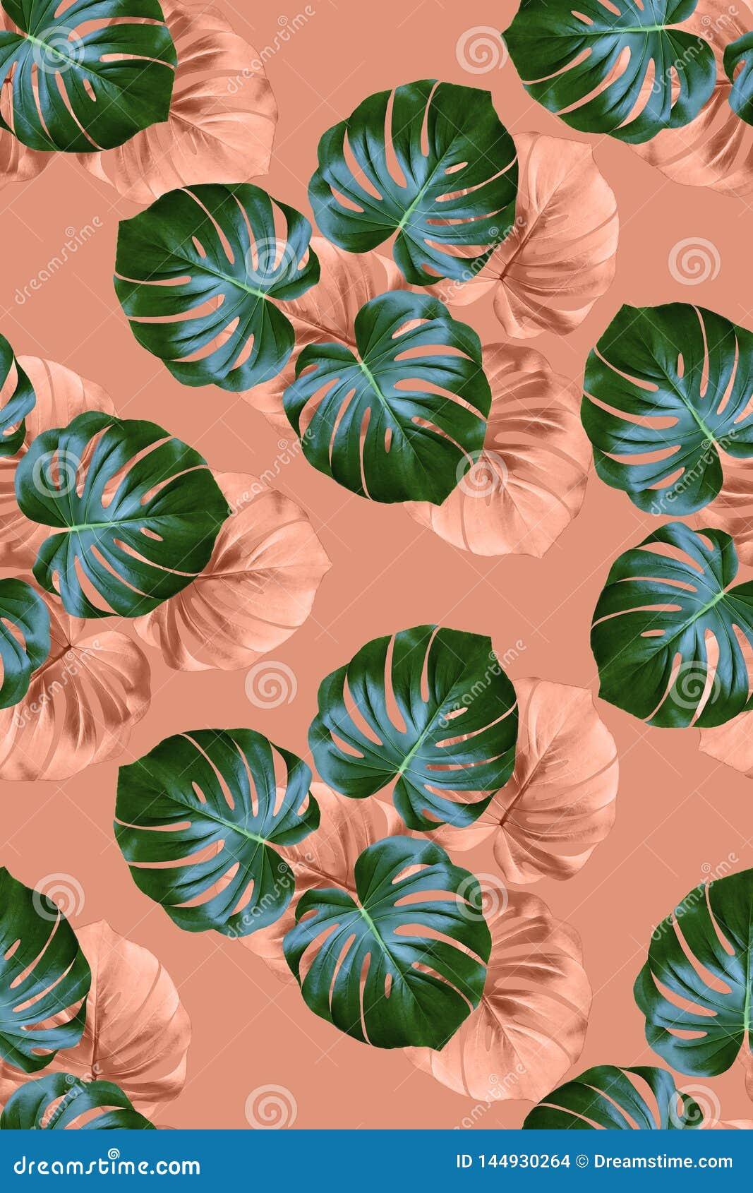 Tkanina wzór z palmą opuszcza na różowym tle