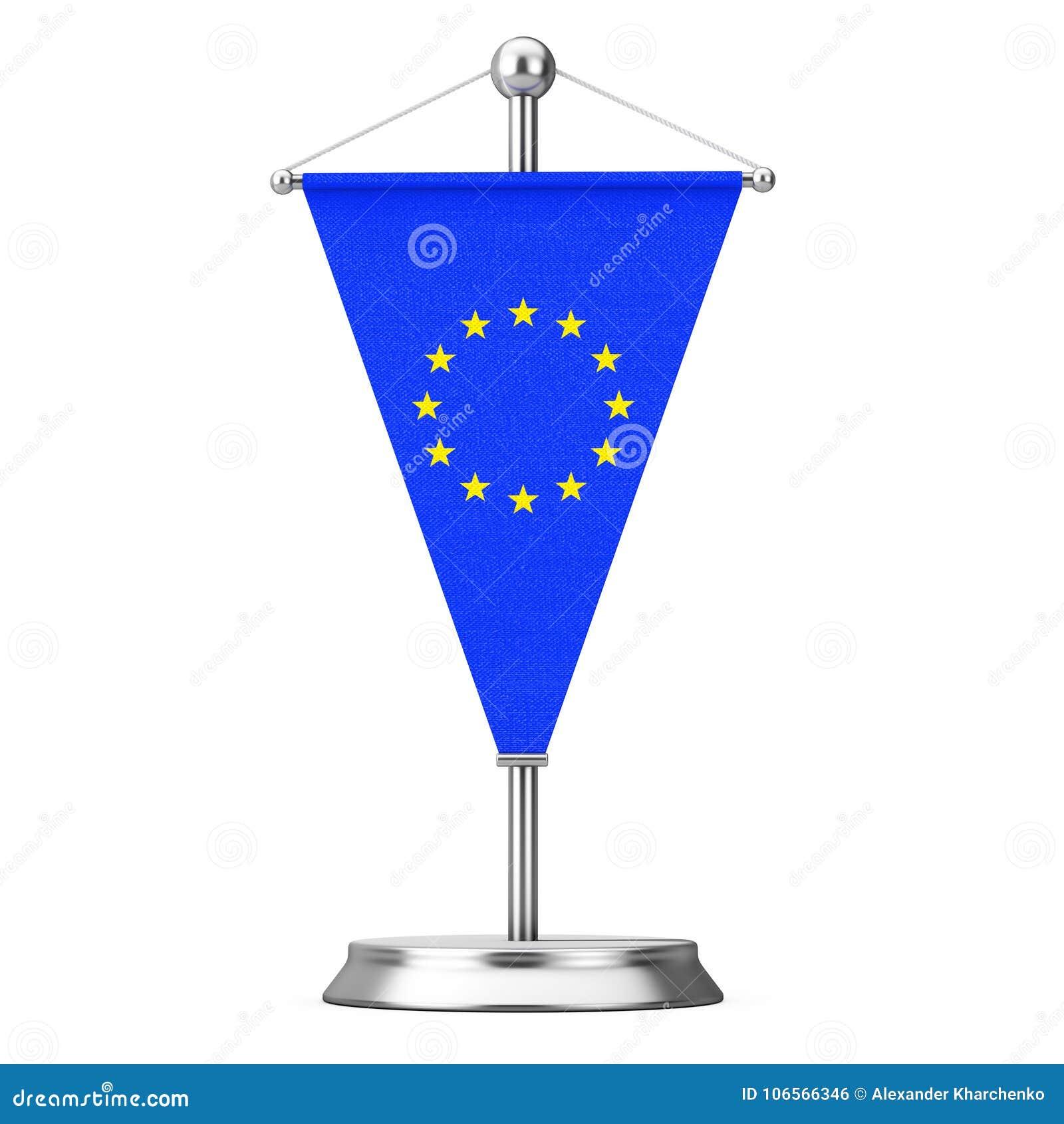 Tkaniny Europejskiego zjednoczenia stołu flaga na Stalowym iglica piedestale 3d ren