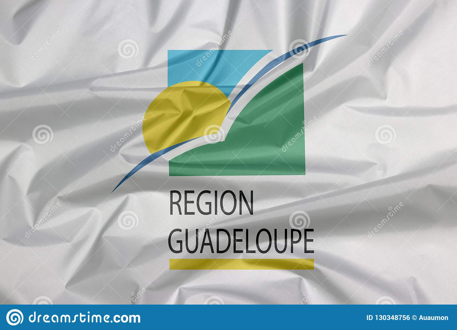 Tkaniny flaga Guadeloupe region Zagniecenie Guadeloupe regionu flagi tło