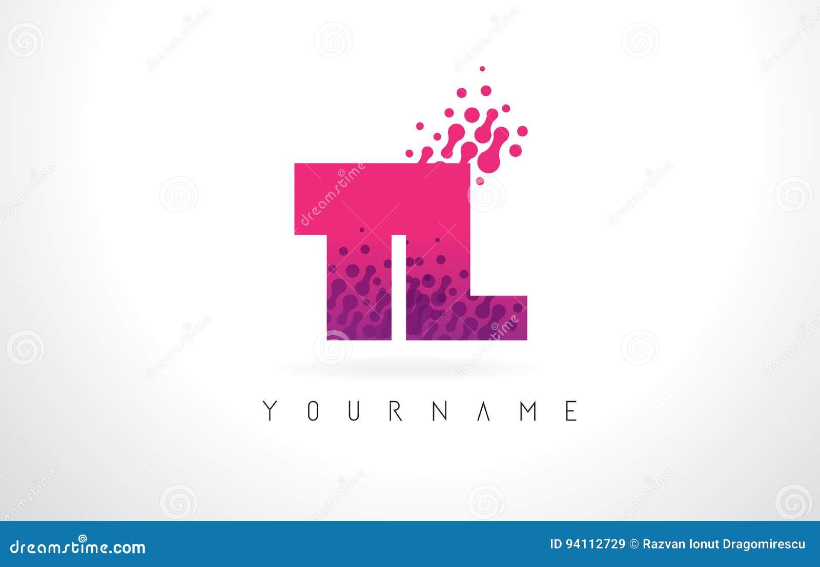 TL T L Letter Logo With Pink Purple Color And Particles Dots Des ...
