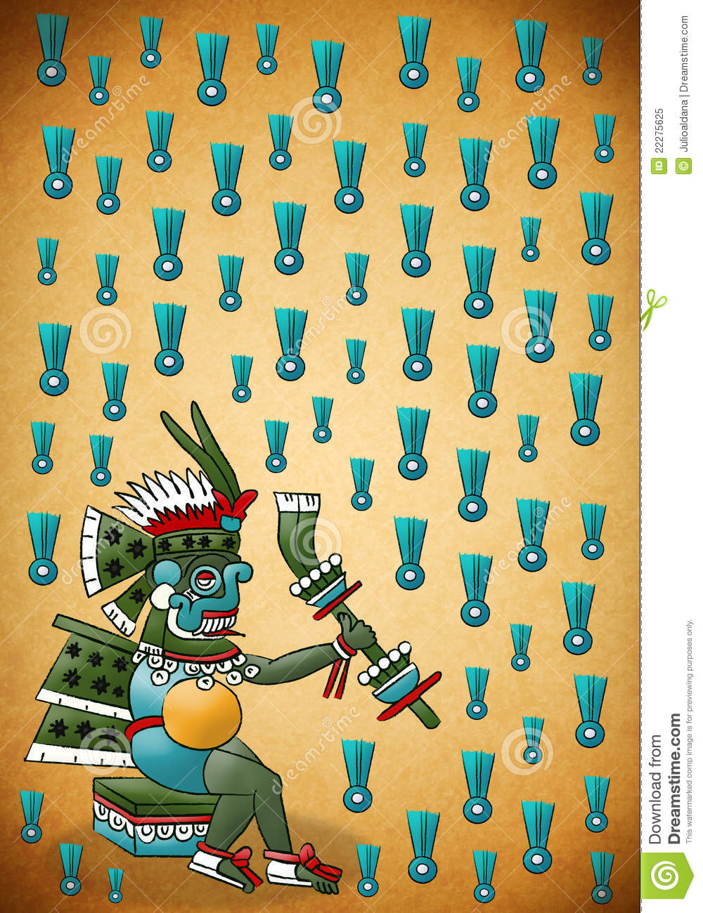 Tlaloc Mayan Aztec Deity Of Water And Rain Stock