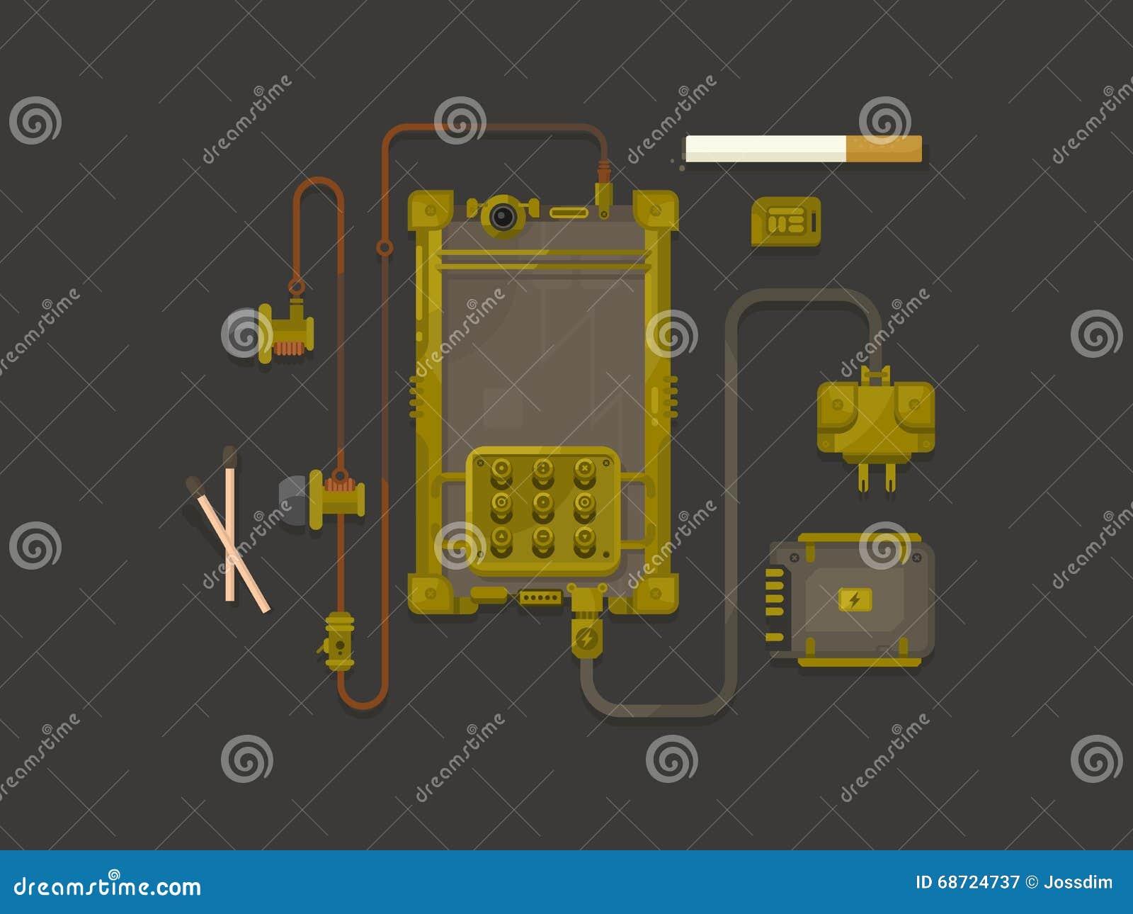 T L Phone Portable De Conception De Steampunk Plat
