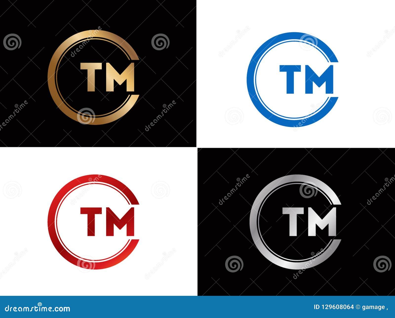 TM-Textgoldschwarze silberne moderne kreative Alphabetbuchstabelogoentwurfs-Vektorikone