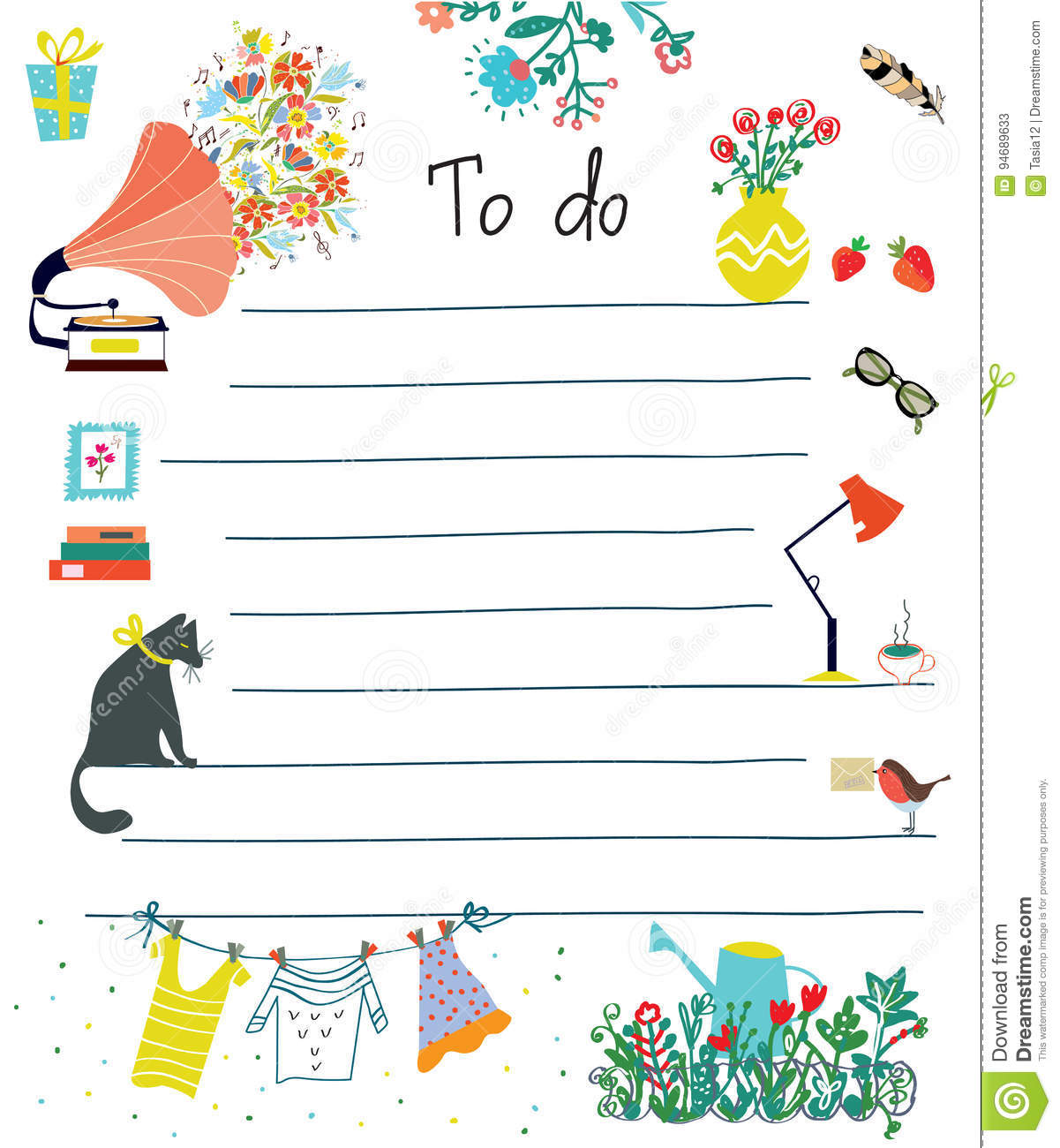 to do list cute design with flowers