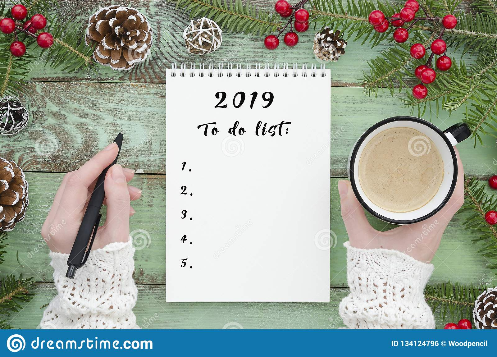Christmas List 2019.To Do List 2019 Flat Lay Girl Hand Holding Pen And Coffee