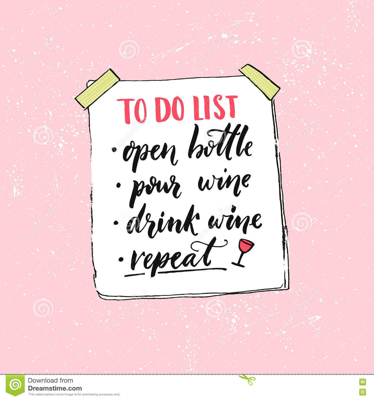 to do list open bottle pour wine drink and repeat funny quote
