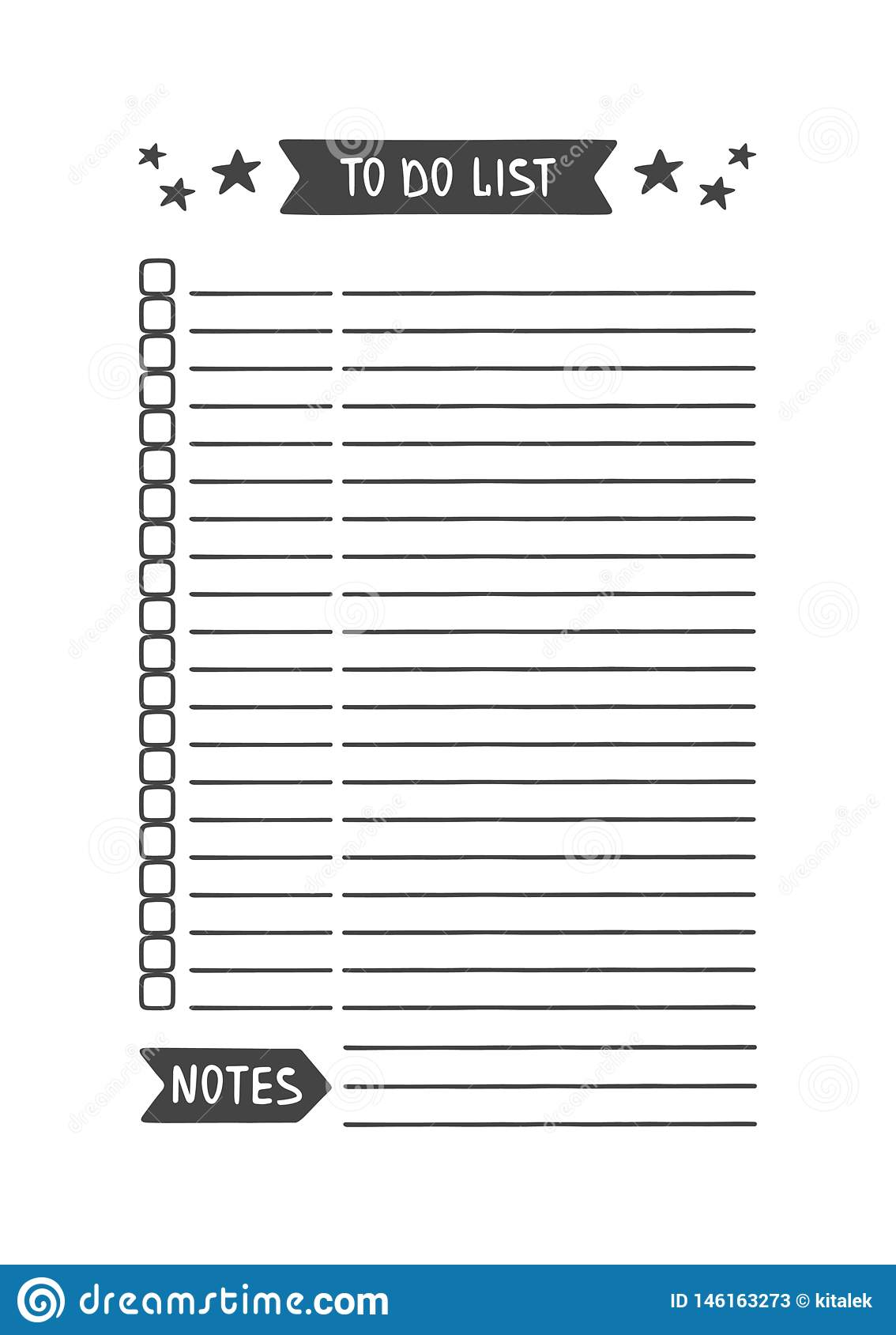 To Do List. Printable Organizer for Study, School or Work Stock ...