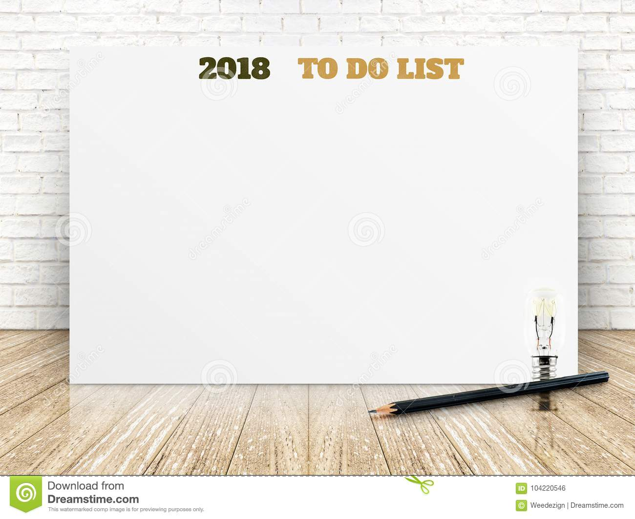 2018 to do list on white paper poster on white marble room wall