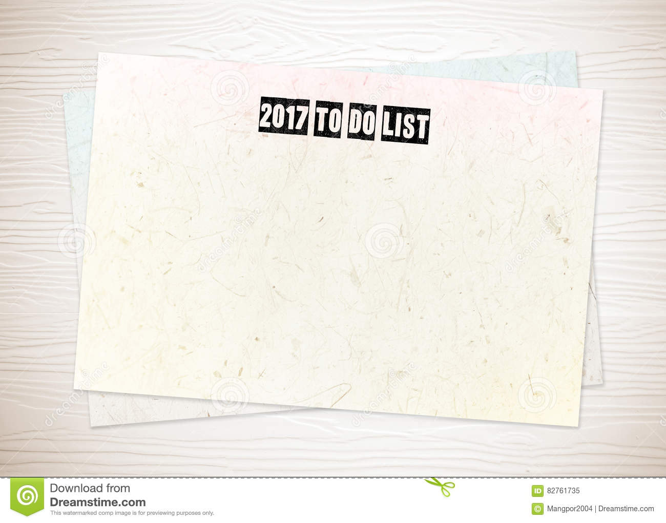 2017 to do list words on blank paper on white wood background stock