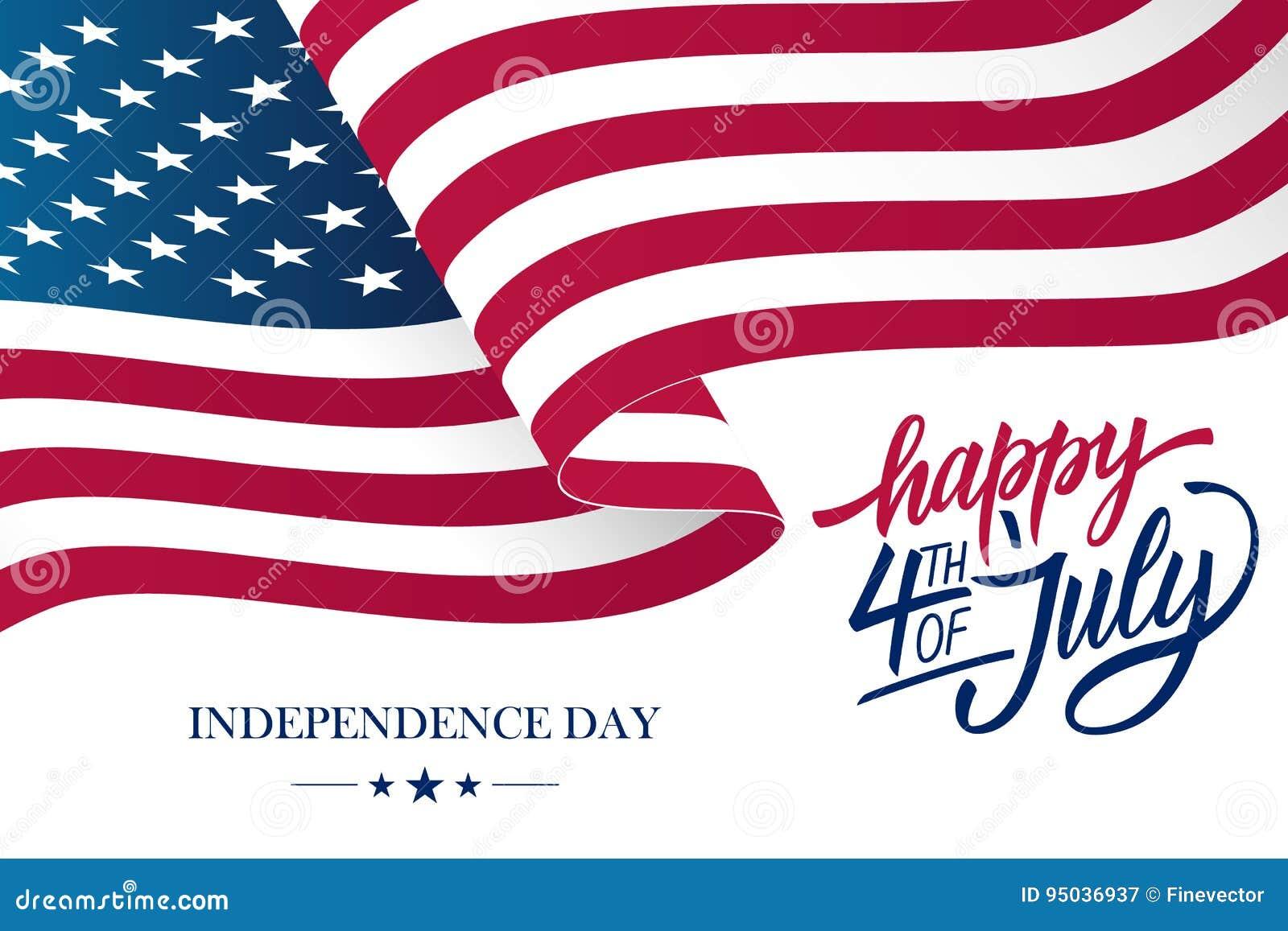 4to feliz de la tarjeta de felicitación del Día de la Independencia de julio los E.E.U.U. con agitar las letras americanas de la