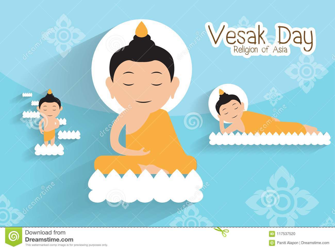 To give birth and Enlighten and nirvana.Vesak day.Buddha on the lotus Vector