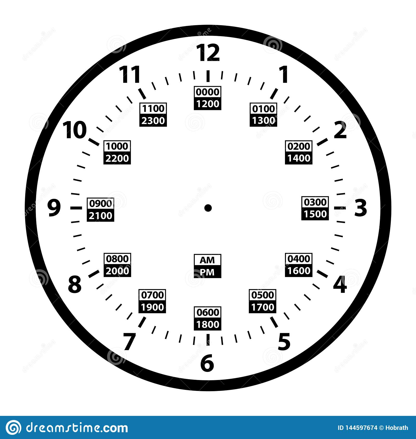 12 To 24 Hour Military Time Clock Conversion Template