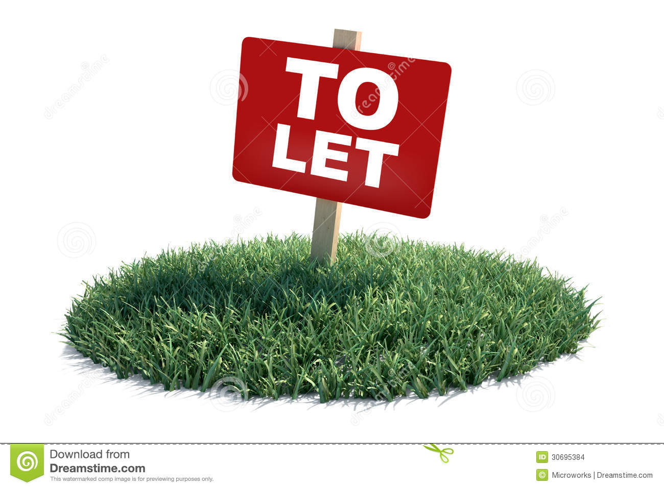 To Let sign over a piece of land with green grass. Isolated on white.