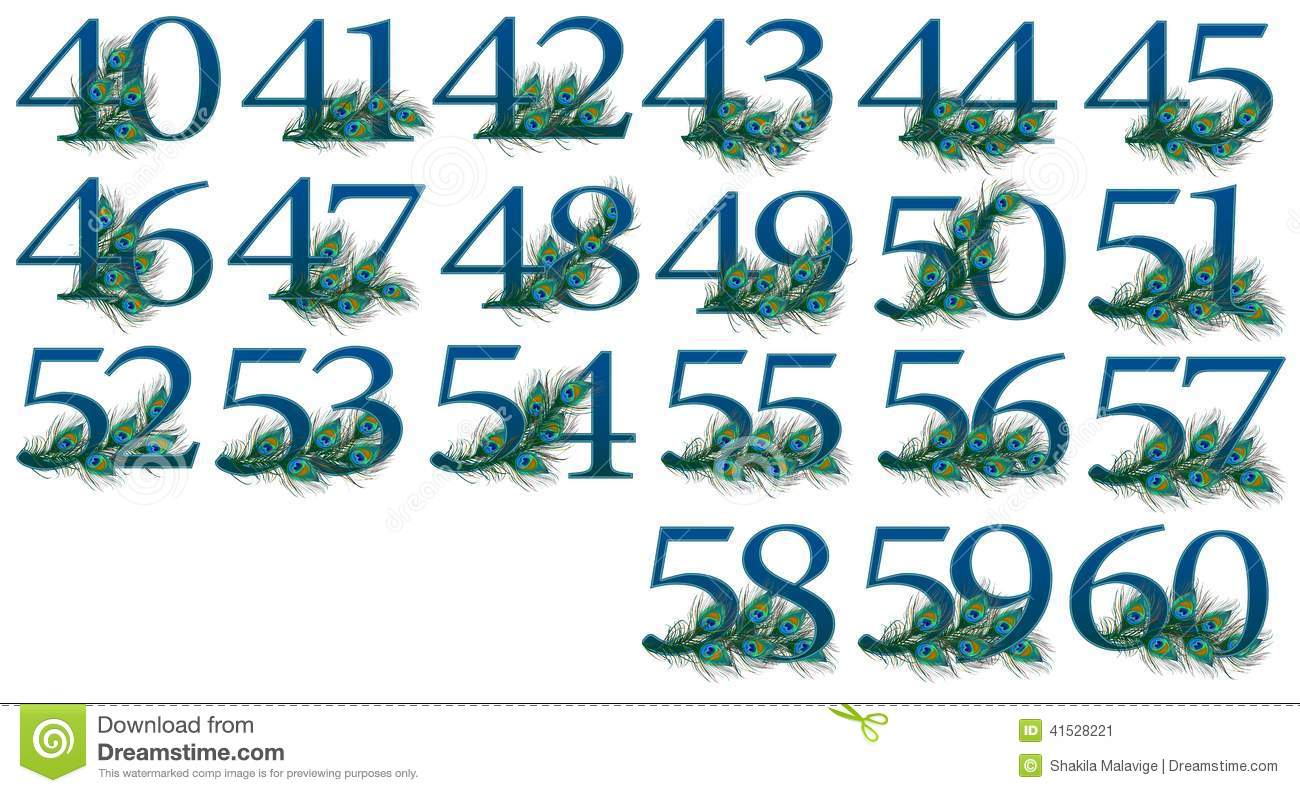 40 to 60 number set of 0 to 100 peacock numbers stock photo image 41528221. Black Bedroom Furniture Sets. Home Design Ideas