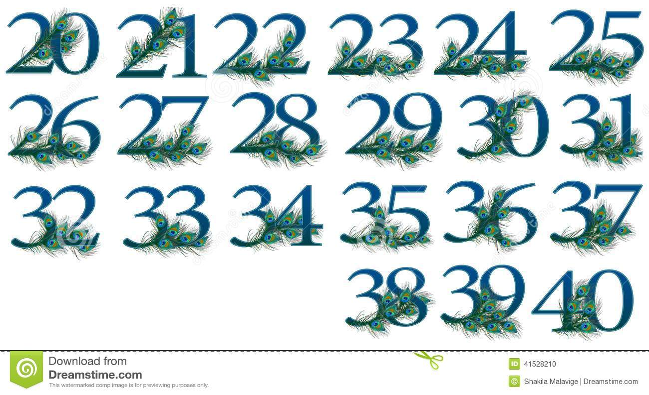 20 to 40 number set of 0 to 100 peacock Numbers