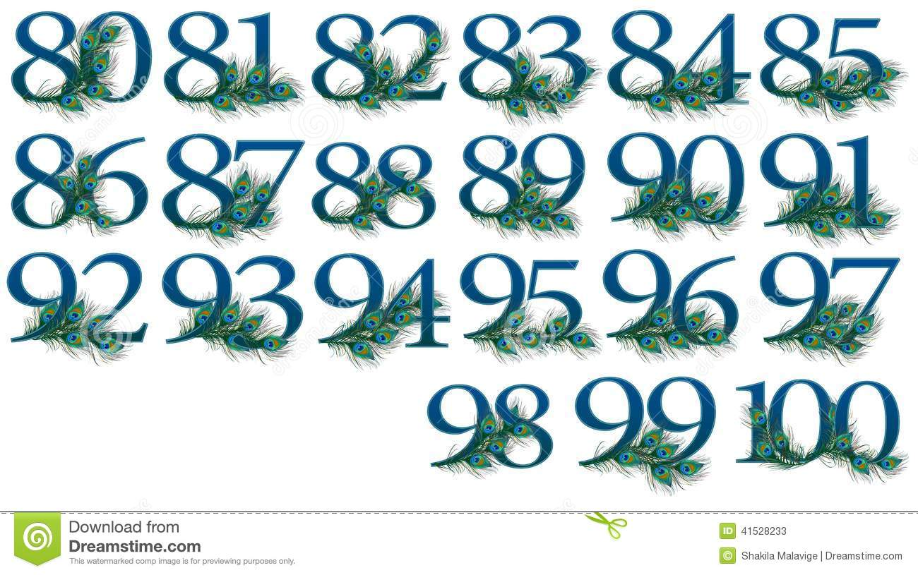 80 to 100 number set of 0 to 100 peacock numbers stock image image 41528233. Black Bedroom Furniture Sets. Home Design Ideas