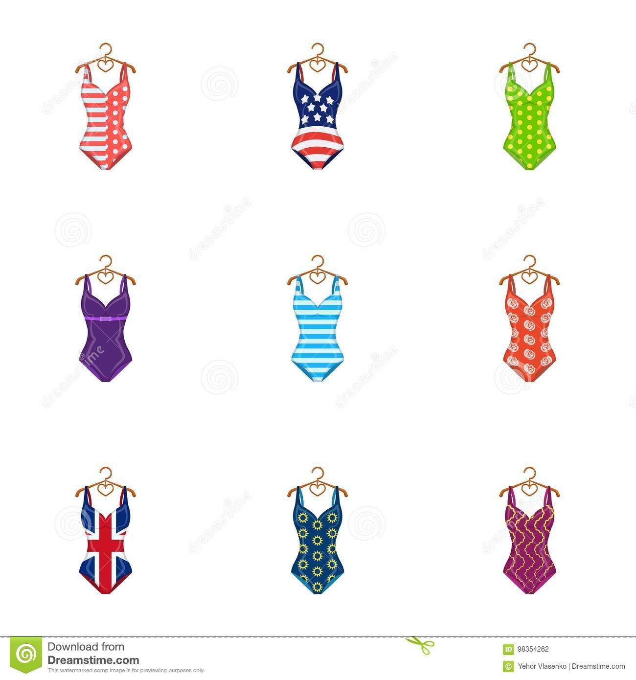 To Relax On The Beach A Pool Of Colorful Swimsuits Swimsuits Set